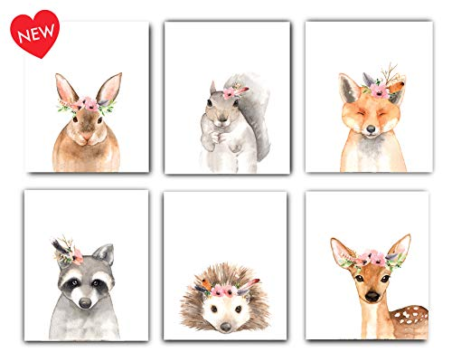 Designs by Maria Inc Woodland Floral Crown Animals Nursery Decor Watercolor Art Posters | Set of 6 Unframed 8x10 Prints