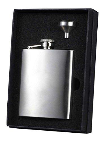 Visol Holiday Essential Derek Stainless Steel Liquor Flask Gift Set, 8 oz, Silver for $<!--$26.98-->