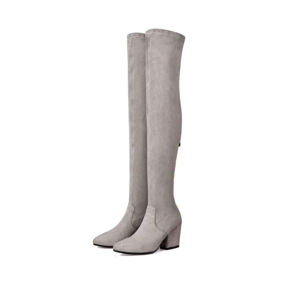 Women Thigh High Boots Over The Knee Block Heel Pointed Toe Stretch Grey Boot