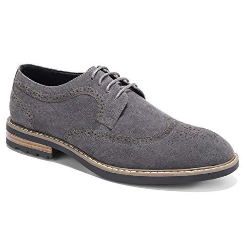 Men's Suede Oxfords Dress Shoes Lace-Up Wingtip Brogue Oxford Shoe Zapatos de Hombre Grey 13