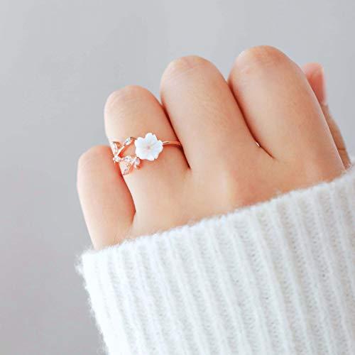 Barogirl Flower Ring Engagement Ring for Women Womens Rings for Lovers YR909 (8, Rose-gold)