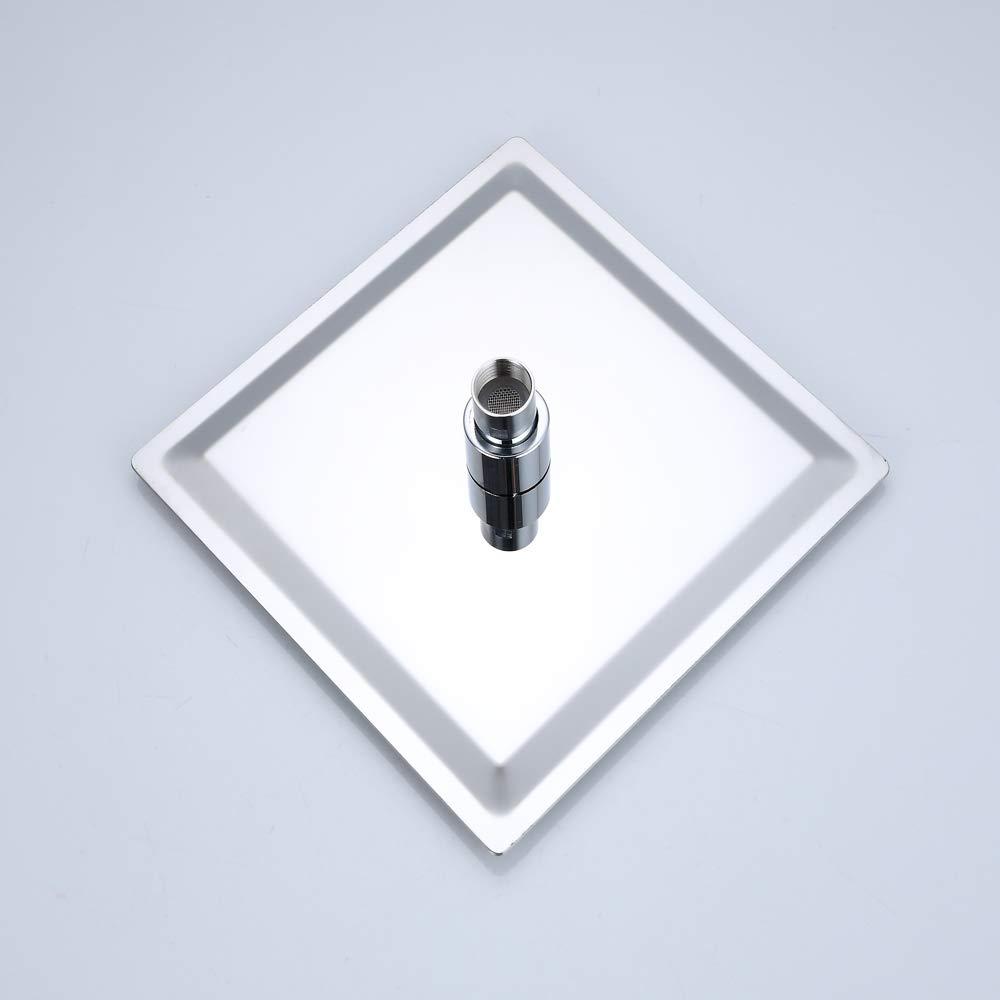 JOHO 25x25cm pflegeleichte Kopfbrause Duschkopf aus 304 Edelstahl mit Anti-Kalk-D/üsen Regendusche