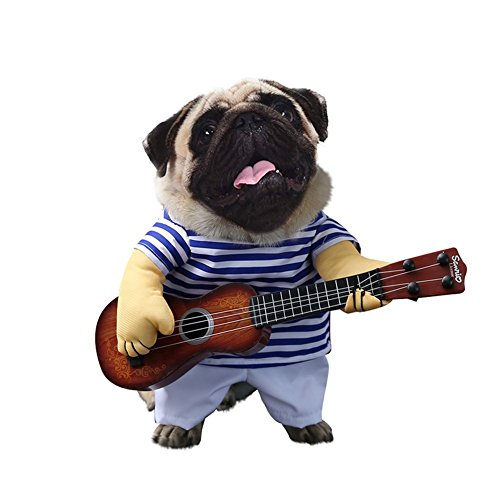 Albabara Fancy Halloween Pet Costumes with Guitar Design Funny Clothing Dog Cat Suit Stripes Dressing up Party Apparel Without Wig -