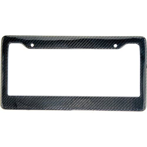 Real 100% Carbon Fiber License Plate Frame Tag Cover FF - C With Matching Screw Caps - 1 (Frame Real Carbon Fiber)