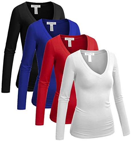 Emmalise Women's Casual Basic V-Neck Tshirt Long Sleeves Tee Top - 4Pk-Black,White,Blue,Red, 2XL