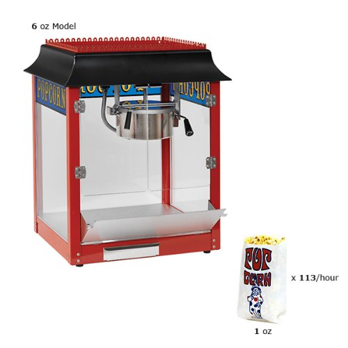 Paragon 1911 Style 6 Ounce Red Popcorn Machine for Professional Concessionaires Requiring Commercial Quality High Output Popcorn Equipment