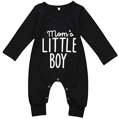 YOUNGER TREE Newborn Baby Boy Cotton Outfit Long Sleeve Romper Bodysuit for Infant Toddler Black ()
