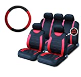 UKB4C Red Steering Wheel Cover & 8 Piece Seat Cover Set Washable Airbag Safe Full Protection