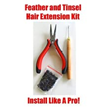 HAIR TINSEL, FEATHERS, HAIR EXTENSION TOOL KIT WITH 100 (BLACK) MICRO LINKS by BlingFlash