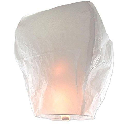 Chinese Lanterns White 10-Pack, Festival Paper Lanterns, Sky Lanterns Designed for Holidays, Birthdays, Weddings, Parties. Safe To Use, Flame-Retardant Paper and Bamboo Frame With Bonus