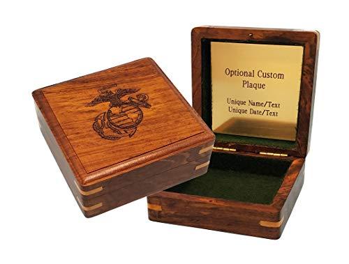 "Stanley London Engraved Military Keepsake Box - Marines (Large 4"" x 4"", Personalized)"