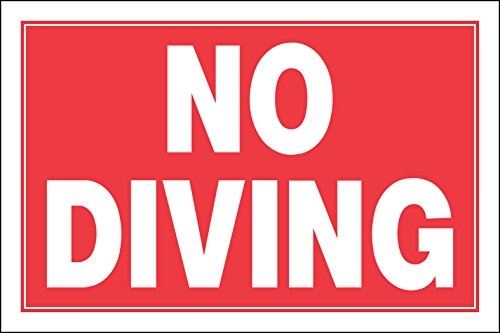 Hillman 841934 No Diving Sign, Red and White Plastic, 8x12 Inches 1-Sign - Diving Sign
