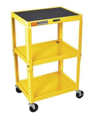 (Luxor AVJ42-YW Adjustable Height 3 Shelves Steel AV Cart, Yellow)