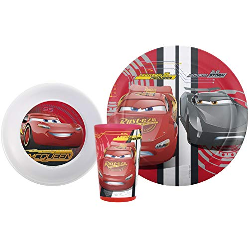 (Zak Designs CRSG-0391 Cars 3 Plate-Bowl-Tumbler 3 Piece Windowbox Set,)
