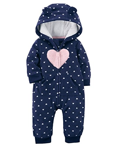 Carter's Baby Girls' Heart Hooded Fleece Jumpsuit 24 Months