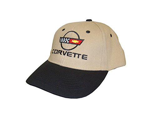 Hot Shirts Men's Chevrolet C4 Corvette Hat: Black & Khaki - Chevy Vette 1984-1996