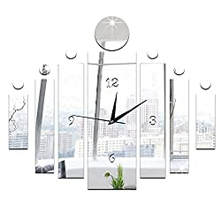 HXWJ 23.6×19.6 Luxury 3D Mirror Silver Wall Clocks- Easy to Read & Install Decorative for Kitchen, Living Room, Bathroom, Bedroom, Office (A)