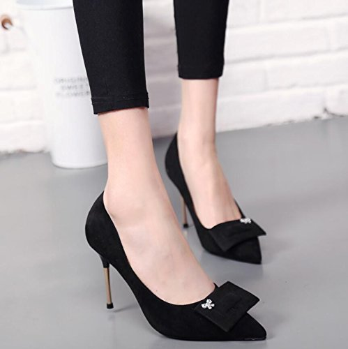 A Thin Satin Drilling High KHSKX Bow Water Shoes Female With Tip Tie Heeled Single Black 37 Shoes 10Cm UnfgH1F