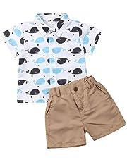 Geagodelia Conjunto Niños Bebés Verano Gentleman Camiseta de Manga Corta Pantalón Corto Ropa Bautizo de 2 Piezas Traje de Camisa + Shorts