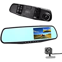 Car DVR 4.3 inch Rear view Mirror Video Recroder Car Camera Dual lens Cam night Vision front and rear G-Sensor Loop Recording