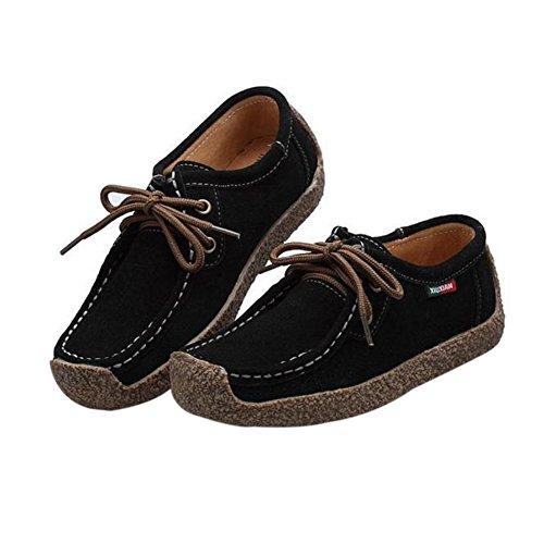 Temofon Femmes Automne Casual En Cuir Chaussures De Sport De Course Solide Lace Up Plat Fashion Sneaker Noir