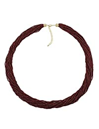 """Bocar Long Multiple Row Handmade Beaded Statement 33"""" Necklace for Women with Gift Box"""