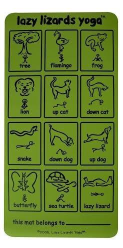 Lazy Lizards Yoga Mat for Kids & DVD, Green