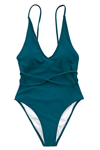 CUPSHE FASHION Watch The Clouds Solid One-Piece Swimsuit Beach Swimwear Bathing Suit (L)