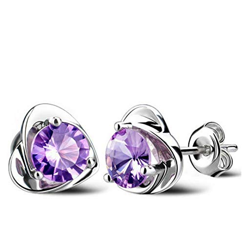 (Classic Flower Butterfly Clover Silver Plated Stud Earrings Clear Cubic Zirconia Crystal Earrings Jewelry Factory Price HLJ00001A-5)