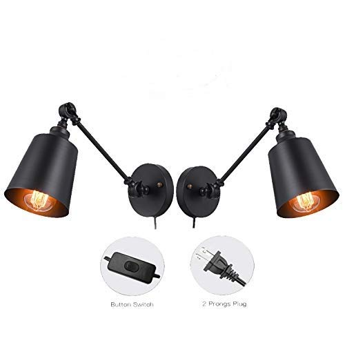 Plug In Swing Arm Lamp - Plug in Wall Sconces, Swing Arm Wall Lamp Fixture, HOXIYA Adjustable Wall Light Fixture is Black Metal Wall Sconces for Bedroom Living Room Kitchen Dining Room (Set of 2)