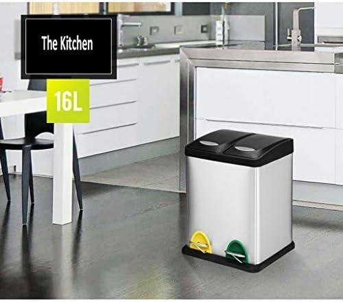 ゴミ袋 ゴミ箱用アクセサリ ダブルコンパートメントゴミ箱コレクター、ブラッシュドステンレススチール、16リットル/ 4.2ガロン キッチンゴミ箱 (サイズ : 45L)