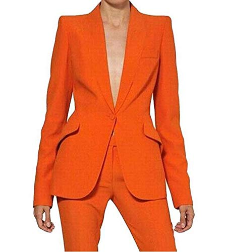 Women's Peak Lapel One Button Business Suits 2 Pieces Wedding Groom Tuxedos Formal Party Suit (Orange,S) ()
