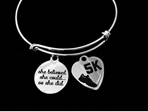 10k Race Charm - She Believed She Could so She Did 5K or 10K Expandable Charm Bracelet Adjustable Wire Bangle Gift Runner Race Personalized and Customization Options