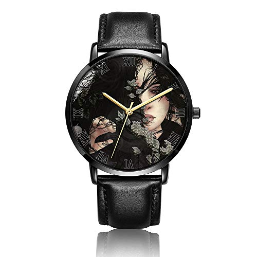 Whiterbunny Customized Anime Illustrations Wrist Watch Unisex Analog Quartz Fashion Black Leather Bracelet Wristwatch for Women and Men ()