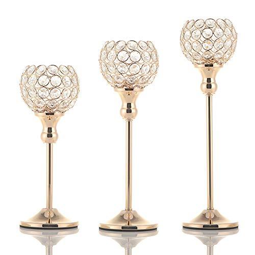 3 Candelabros de Cristal Dorados 25, 33 y 38cm