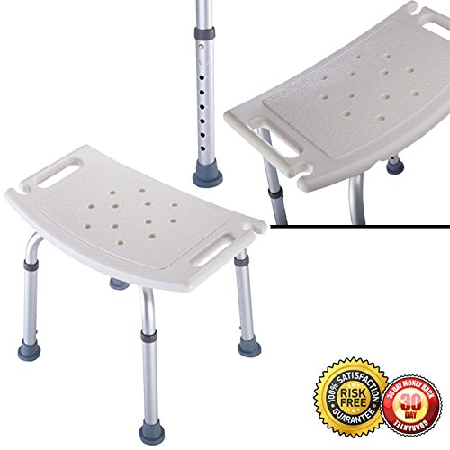 50%OFF New Adj. Medical Bath Tub Shower Chair 6 Height Bench Stool Seat Without Back