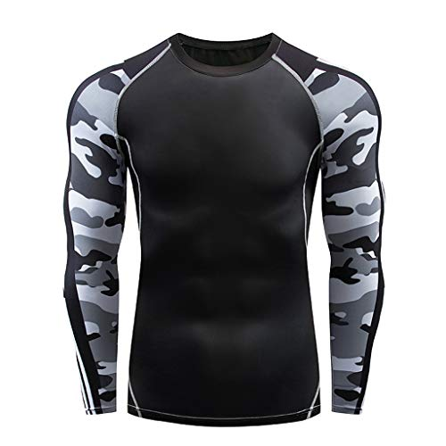 GDJGTA Tops for Mens Casual Fitness Fast Drying Elastic Breathable Sports Tight Long Sleeve ()
