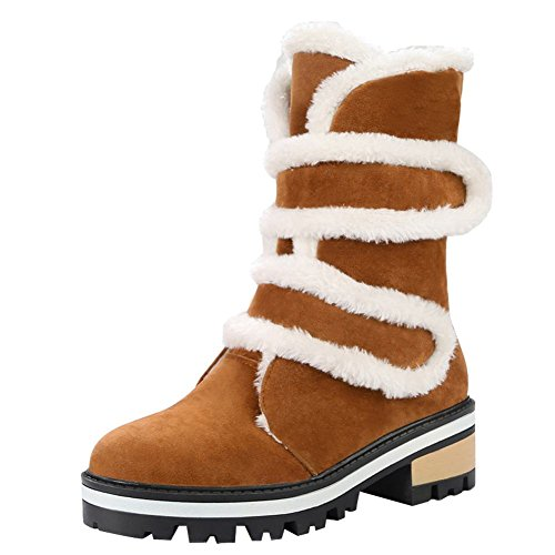 Charme Voet Dames Comfort Haak En Lus Lage Hak Sneeuw Middenkuit Laarzen Lichtbruin