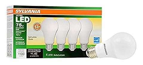 Sylvania Home Lighting 74425 A19 Sylvania Ultra 75W Equivalent LED Light Bulb, Dimmable, Efficient 12W 2700K (4 Pack), Soft White, 4 (Sylvania 2700k Led)