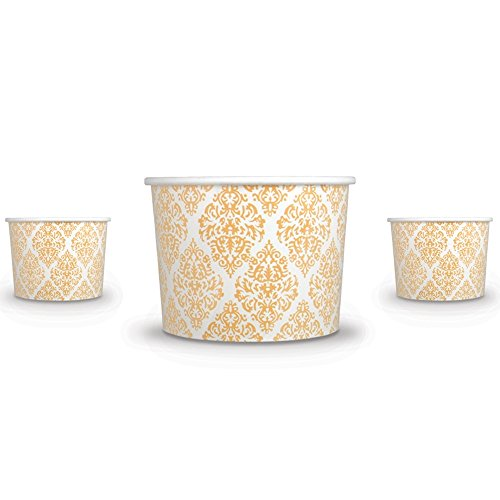 Premium 12 oz Elegant Gold Paper Ice Cream Cups For Weddings and Parties - Comes In Many Colors & Sizes! Fast Shipping - Frozen Dessert Supplies - Made in USA! 50 Count by Frozen Dessert Supplies (Image #1)