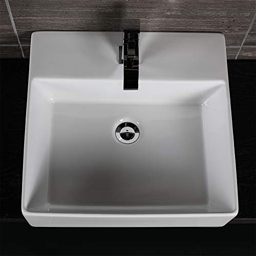 (Wall-mount or above-counter porcelain Bathroom Sink with an overflow. Unfinished back.19 1/2