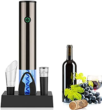Juego de abrebotellas eléctrico recargable, sacacorchos con cortacápsulas de vino, aireador, tope de vacío y cargador LED para los amantes del vino, para fiestas familiares y bares