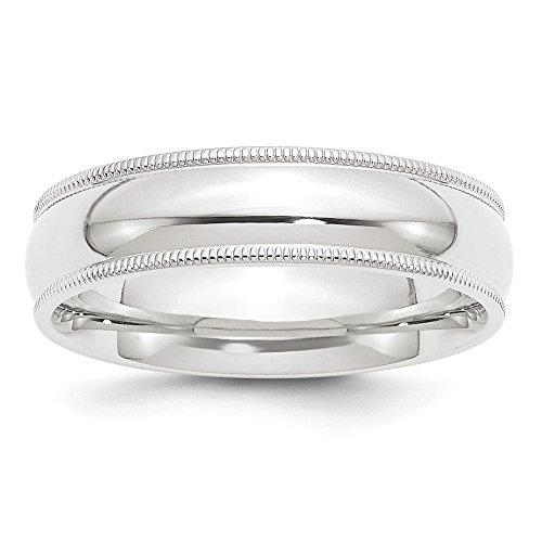 Platinum 6mm Comfort-Fit Milgrain Wedding Band Size ()