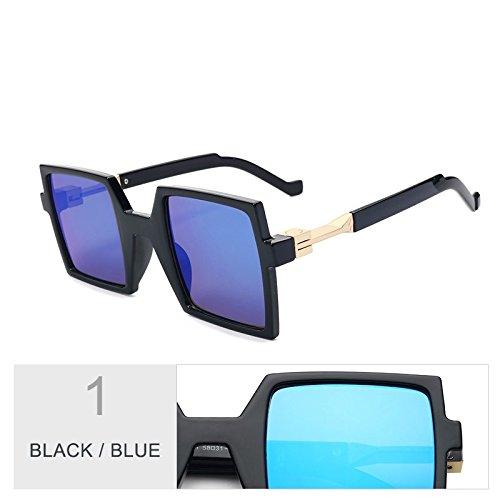 Piazza De Mujer La Unas Gafas Negro De De Black Enormes De Anteojos Sol Uv400 Mujeres Telón TIANLIANG04 Gran Azul Blue Fondo 7tqSwCqn