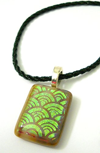 New Brown Circles Dichroic Glass Pendant Necklace with Adjustable Black Silk Cord