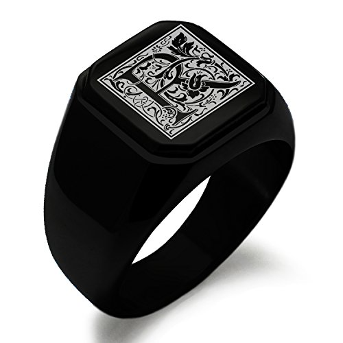 Black IP Plated Stainless Steel Letter R Alphabet Initial Floral Box Monogram Square Flat Top Biker Style Polished Ring, Size 7