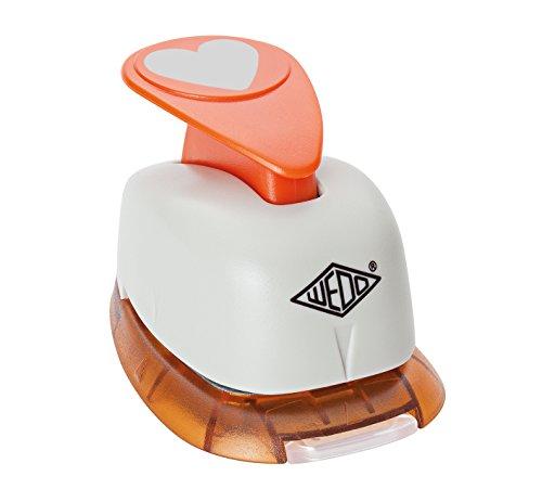 Wedo 168101 Motivlocher klein Herz mit praktischem Auffangbehälter, grau/orange