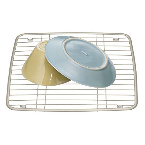 (InterDesign Axis Metal Sink Grid, Non-Skid Dish Protector for Kitchen, Bathroom, Basement, Garage, 10.5