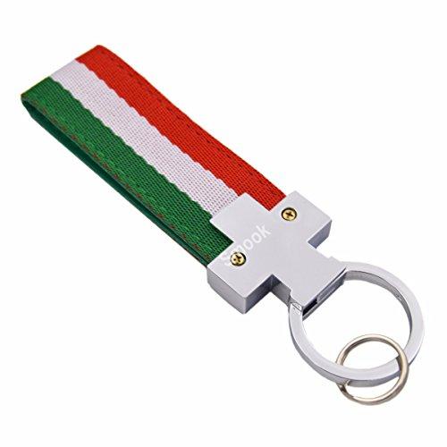 Italian Leather Keychain - Italian Flag Stripe Nylon Band w/ Inner Leather Key Chain Strap Trim Decal for Ferrari Maserati Lamborghini Porsche