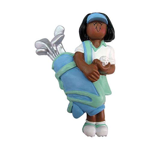 - Personalized Golfer Girl Christmas Tree Ornament 2019 - African-American Woman Player Hold Bag of Clubs Golf Ball Profession Member Hobby Caddy Amateurs Black - Free Customization (Female Ethnic)
